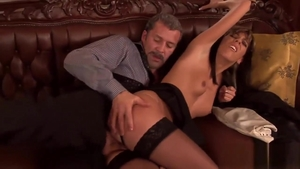 Small boobs and classy bombshell in sexy stockings anal sex