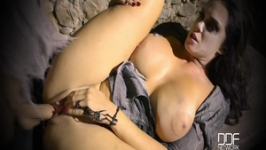 Big tits and busty buxom Alison Tyler humping on Halloween