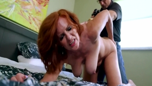 Dirty talk on the couch escorted by long legs brunette