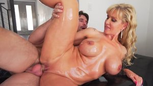 Oiled hard slamming with sexy babe Ryan Conner