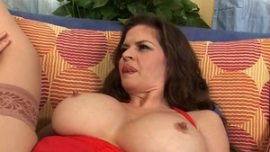 June Summers in tight stockings cumshot on the couch in HD