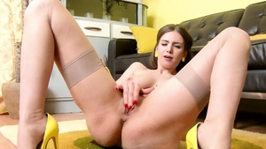 Girl Stella Cox in sexy lingerie masturbating at the party