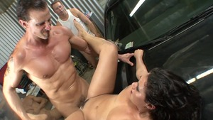 Super sexy and piercing brunette Charley Chase gonzo gangbang