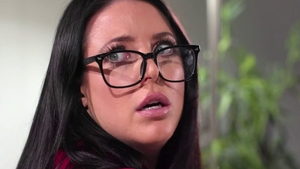 Shaved pussy Angela White next to Ela White strapon in HD