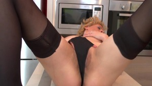 Wet sexy MILF pussy eating in the kitchen