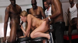 Very hot MILF Lexington Steele interracial sex gangbang
