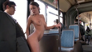 Small tits & yummy brunette Foxy Di rough creampie in the bus