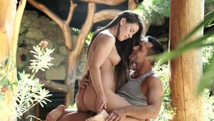 Sexy & young brunette Athina Love cumshot outdoors