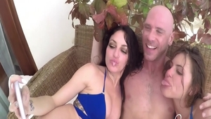 Slamming hard together with Kissa Sins and Johnny Sins
