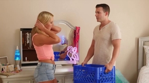 Blonde haired Candice Dare in shorts blowjobs