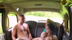 Cumshot in the taxi amongst big tits driver Alexxa Vice