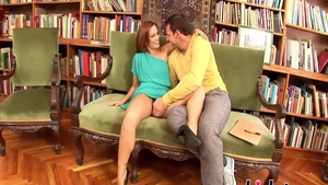 Stepmom Sylvia Laurent rough pussy eating in library