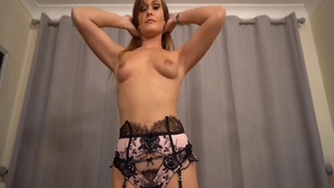 Solo hot Honour May babe in lingerie masturbating