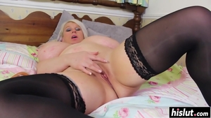 Solo large tits blonde babe in stockings masturbation