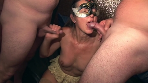Group sex with horny blonde