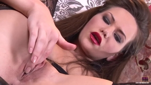 Brunette Subil Arch in bodystocking riding a dick