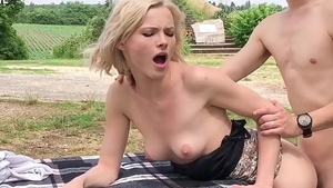 Teen Zazie Skymm blowjob in public