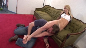 Erotic blonde haired feels the need for wrestling in HD