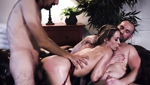 Rough threesome escorted by Aiden Ashley