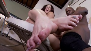 Busty Jayden Jaymes raw footjob in office