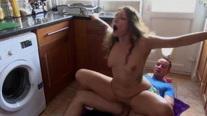 Hairy stepsister pussy fuck in the kitchen