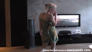 Pretty blonde babe finds dick to fuck