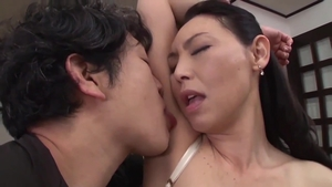 Handjob between japanese stepmother in sexy stockings HD