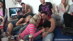 Group sex together with chubby czech slut