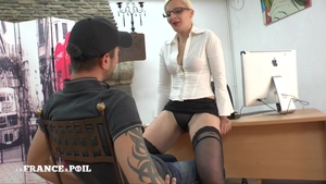 Strapon in office with super hot mistress in sexy stockings