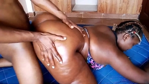 Ebony doggy fucks