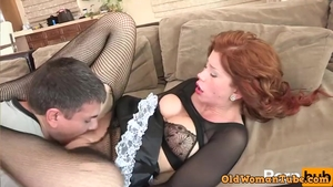 Large tits redhead sucking dick