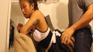 Petite asian maid feels the need for nailing HD