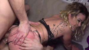 French Ninos Paoli in tight stockings threesome in HD