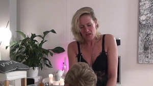 Cumshot in company with dirty european mature