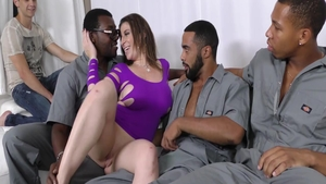 Creampie in company with large tits ebony slut