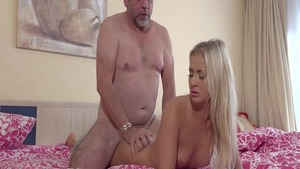 Young blonde babe Cayla Lyons have sex with big dick daddy
